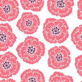 Seamless floral pattern with blooming poppies. — Stock Vector