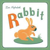 Buchstabe R - Kaninchen — Stockvektor