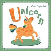 Letter U - Unicorn — Stockvector