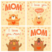 Greeting card for mom with cute animals. — Vector de stock