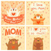 Greeting card for mom with cute animals. — Stock Vector