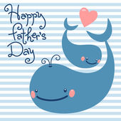 Happy Father's Day. Card with cute whales. — Stock Vector