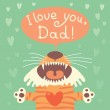 Card happy fathers day with funny tiger cub. — Stock Vector #46636973