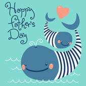 Happy Fathers Day. Card with cute whales. — Stock Vector