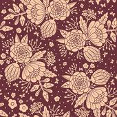 Sömlös vintage mönster med dekorativa blommor. — Stockvektor