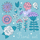 Set of floral elements isolated for your design. — Vecteur