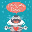 Card happy father's day with funny tiger cub. — Stock Vector #47330105