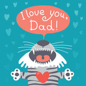 Card happy father's day with funny tiger cub. — Vector de stock