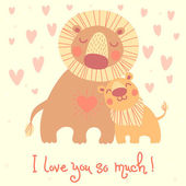 Happy Father's Day card. Cute lion and cub. — Stock Vector