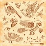 Vector set birds and hearts. — Stock Vector