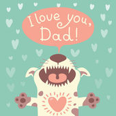 Card Happy Father's Day with a funny puppy. — Stock Vector