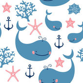 Seamless pattern with cute whales. — Stockvektor