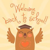 Bienvenidos a la escuela. tarjeta con un búho. — Vector de stock