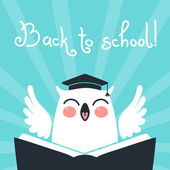 Welcome back to school. Card with an owl. — Stock Vector