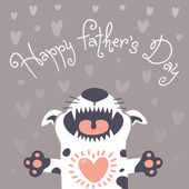 Card Happy Fathers Day with a funny puppy. — Stock Vector