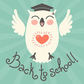 Back to school. Card with an owl. — Stock Vector