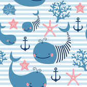 Seamless pattern with cute whales. — Stock Vector