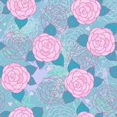 Naadloze patroon met rozen. — Stockvector