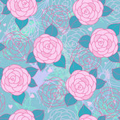 Seamless pattern with roses. — Cтоковый вектор
