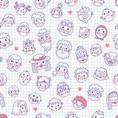 Funny cartoon faces. Seamless pattern. — Stock Vector