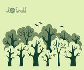Abstract banner of green deciduous  forest. — Stockvector