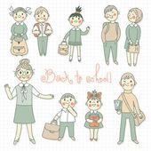 学生と教師。学校に戻る. — ストックベクタ