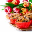 Muffins with tulips isolated on white background — Stock Photo