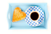 Cookies in the shape of heart with coffee cup, in a tray for breakfast. isolated on white background. — Stock Photo