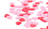 Pink andc red hearts - decorations for cakes, isolated on white background — Stock Photo