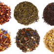 Assortment of dry tea, isolated on white - Stock fotografie