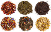 Assortment of dry tea, isolated on white — Stok fotoğraf