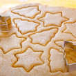 Cutting cookies dough star shape homemade for christmas - Stock Photo