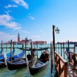 Gondolas on Grand Canal and San Giorgio Maggiore church in Venice - Stock Photo