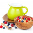Muesli breakfast with fruit and milk — Stock Photo #19443725