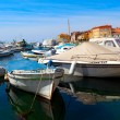 Boats in old Istrian town in Novigrad, Croatia. — Stock Photo
