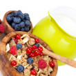 Muesli breakfast with fruit and milk — Stock Photo #19445283