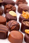 Delicious Chocolate Pralines , On White Background — Stock Photo