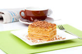 Sweet dessert cakes with cup caffee — Stock Photo