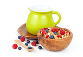 Muesli breakfast with fruit and milk — Stock Photo