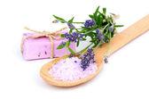 Lavender bath salt, soap and flower on white background — Stock Photo