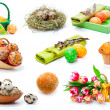 Stock Photo: Set of tulips, painted easter eggs, muffins and Quail eggs. on