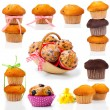 Set of muffins, isolated on white background. - Stok fotoğraf