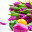 Easter eggs and flower tulips - Stock Photo