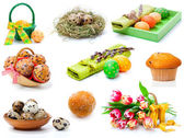 Set of tulips, painted easter eggs, muffins and Quail eggs. on — Stock Photo