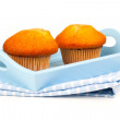 Muffins in a tray for breakfast. isolated on white background. — Stock Photo