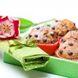 Stock Photo: Muffins with serviette, in tray for breakfast. isolated on w