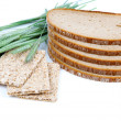 Tasty baked bread, crispbread, ears and wheat grain, isolated on — Stock Photo