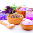 Dry Lavender herbs and bath salt isolated on white background — Stock Photo #21254271