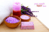 Lavender bath salt, on white background — Stock Photo