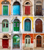 A photo collage of colourful front doors to houses — Stock Photo